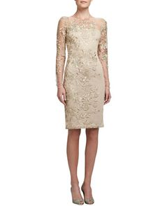 Embroidered Lace Cocktail Dress by David Meister at Neiman Marcus.