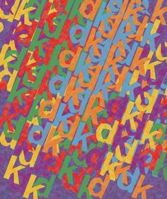 13. Rhythm is shown in this piece because of the repetition of colors and letters.