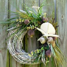 Beach Decor Wreath with Plums, Starfish, Sand Dollar and Snails - Fall and Beyond