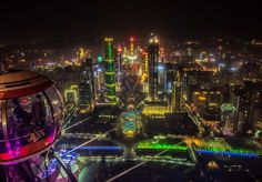 Fantastic night views of the Guangzhou modern skyline from the Bubble Tram at the Canton Tower. From a Bubble by Dan Goldberger on Canton Tower, Overseas Chinese, Visit China, Guangzhou, All Over The World, Times Square, Bubbles, Skyline, City