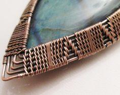 Oxidized Copper Wire Woven & Green & Blue Flash Labradorite Pendant