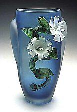 "Etched Flower Vase by David Van Noppen (Art Glass Vase) (15"" x 6"")"