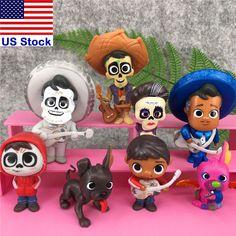 Coco Cake Topper Figures Toy Set Miguel Hector Imelda Dante Ernesto w// stickers