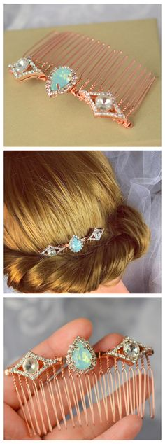 Hey, I found this really awesome Etsy listing at https://www.etsy.com/listing/253325040/rose-gold-hair-combrose-gold-vintage