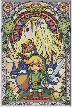 Zelda stained glass pattern-free