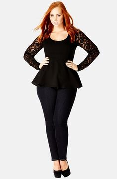 City Chic 'Sophisticated' Lace Sleeve Peplum Top (Plus Size) available at #Nordstrom
