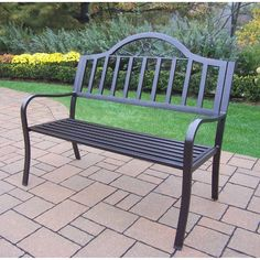 Oakland Living Corporation Hometown Wrought Iron Bench (Hammer Tone Brown), Black, Patio Furniture (Aluminum)