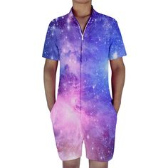 3273a16b857 Like and Share if you want this Galaxy Space 3D Print Single Breasted Men s  Romper Tag