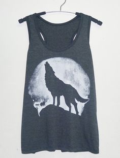 Wolf tank top Dark grey size S/M/L/XL white and by StoneTshirts