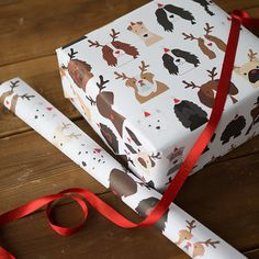 Christmas Dogs, Antler And Santa Hats Wrapping Paper - cards & wrap Christmas Gift Guide, Christmas Gift Wrapping, Christmas Dog, Wrapping Gifts, Dog Antlers, Super Cute Dogs, Wrapping Paper Design, Cockerspaniel, Bassett Hound