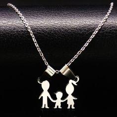 ママ家族メッキシルバーステンレス鋼のネックレス男性ジュエリー男の子と女の子ステートメントネックレスジュエリーコラルn813