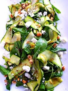 Zucchini Ribbon Salad - Proud Italian Cook. Clean Eating Clean Side Salad Low Carb Lunch Dinner Baby Spinach Zucchini Pine Nuts or Slivered Almonds Feta Italian Vinaigrette Vegetarian Recipes, Cooking Recipes, Healthy Recipes, Healthy Salads, Healthy Food, Easy Recipes, Cooking Games, Skinny Recipes, Grilling Recipes