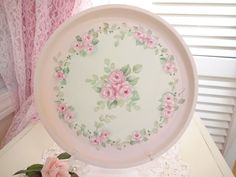 ELEGANT ROSE TRAY daSommers hp chic shabby cottage vintage hand painted pink art