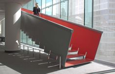 Zahner worked with the architects at Diller Scofidio + Renfro to produce a gliding red staircase for the recent renovations at The Juilliard School in New York City.