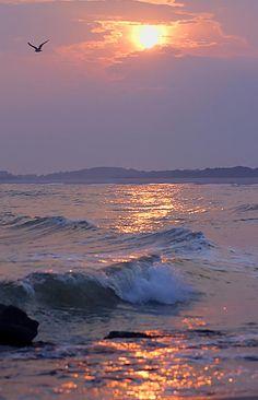 """""""Serenity"""" Waves Crash At Sunset   Anthony Sacco El raudar de la naturaleza siempre arranca una mirada esplendida de mí."""