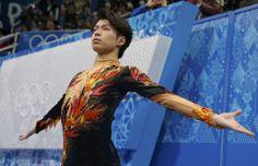 Tatsuki Machida warms up before men's free skating program at the Sochi 2014 Winter Olympics