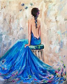 Original Painting Figure Woman Portrait Peacock by JBeaudetStudios #woman #painting #contemporary #art #blue #glamour #fashion #canvas #original Sold but prints will be available soon. Thanks!