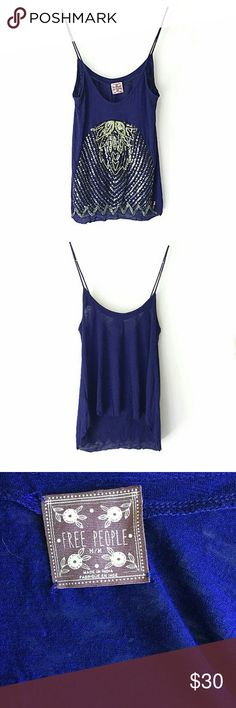 Free People Sequin Design Tank In excellent condition. No major signs of wear. Size medium Smoke and pet free home. Ships within one business day. Free People Tops Tank Tops