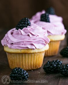Greek Yogurt #Cupcakes with Blackberry Frosting. 1 whole cup of Greek Yogurt makes these amazingly fluffy and the blackberry frosting is heavenly! @NatashasKitchen