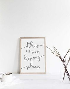 Etsy this is our happy place - Print. This is our happy place print/ calligraphy print/ printable art/ modern farmhouse/ home print/housewarming gift/farmhouse printable/ modern. Calligraphy Print, Family Wall, Diy Canvas Art, Typography Prints, My Happy Place, Wooden Signs, Farmhouse Decor, Modern Farmhouse, Printable Art
