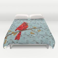 Red Cardinal Collage Duvet Cover by Belinha Fernandes | Society6