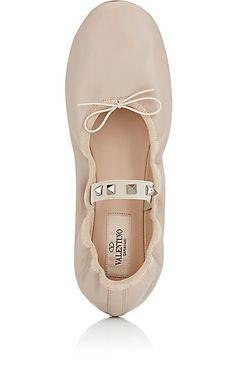 Valentino Rockstud Leather Ballerina Flats - Ballet - 504712676