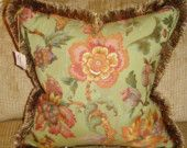Floral Brocade Pillow with Brush Fringe Traditional Pillows, Lilac, Decorative Pillows, Feather, Reusable Tote Bags, Velvet, Throw Pillows, Wool, Orange