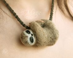 Felted sloth on braided necklace, kumihimo, needle felted animal, felt jewellery, miniature, gift, braided necklace, hanging - pinned by pin4etsy.com
