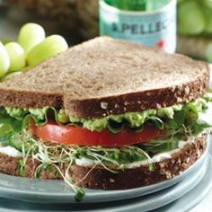 Cucumber, Sprout, Tomato Sandwich. I would have to add turkey to that, too.