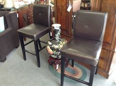 Counter Heights Stools - We have a pair of leather contemporary bar stools available.    Item. 332-4.  Price. $60.00 each stool.    - http://takeitorleaveit.co/2014/02/24/counter-heights-stools/