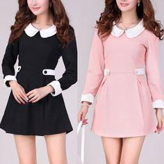 F / XL-3XL Pink/Black Plain White Baby Doll Collar Long Sleeves Dress JB230 | eBay