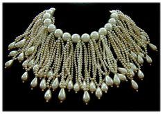 DeLILLO Opulent Faux Pearl Fringe Collar Necklace