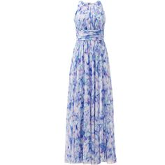 Rental Badgley Mischka Water Lilies Maxi Dress ($110) ❤ liked on Polyvore featuring dresses, floral dresses, sleeveless maxi dress, blue halter top, halter maxi dress and blue floral dresses