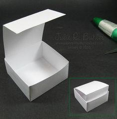 Flap Box Tutorial I got everything ready to show you how to make the flap box I created HERE. Supplies are listed below, so let's get started. I try to always use the least amount of CS to make the biggest box and. Diy Paper, Paper Crafts, Diy Crafts, Scrapbook Box, Scrapbooking, Boxes And Bows, Origami Box, Oragami, Envelope Punch Board