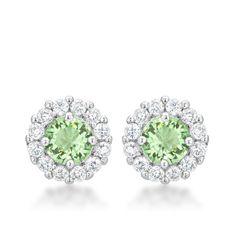 Peridot Holiday Sparkle Stud Earrings