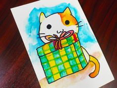 In the second half of the Artist Loft watercolour paper I drew a simple drawing of a cat and a gift box.  (Click for first half.) However, I wanted the lines to be black and prominent.  Embossing the lines worked great, especially  since it resists …