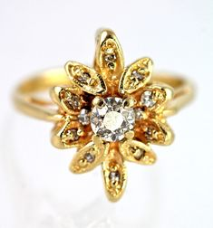Vintage 14k Yellow Gold & 1/2 Carat Diamond Ring Size 5 – Yourgreatfinds  $1595.