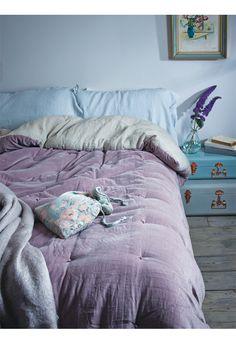 Velvet & Linen Kingsize Quilt - Vintage Mauve - Bed & Bath - Indoor Living