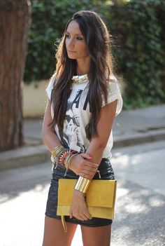 Leather skirt print Tshirt street fashion
