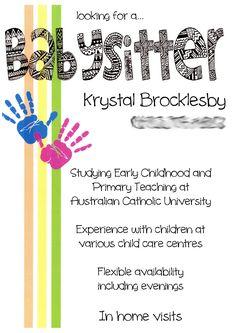 Babysitting Flyer using MDS! | Baby sitting | Pinterest | Flyers ...