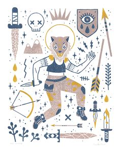 The Warrior, an art print by Camille Chew Halloween Illustration, Tattoo Illustration, Aztec Culture, Modern Magic, Wow Art, Beautiful Drawings, Beautiful Lines, Stickers, Character Concept