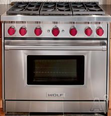 """Wolf GR366LP 36"""" Pro-Style Gas Range with 6 Dual-Stacked Sealed Burners, 5.5 cu. ft. Convection Oven, Infrared Broiler, Red Control Knobs and Island Trim: Liquid Propane"""