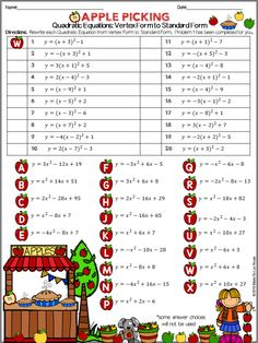 Worksheets Graphing Quadratic Functions In Vertex Form Worksheet quadratic function equation and student on pinterest writing equations from vertex form to standard practice worksheet