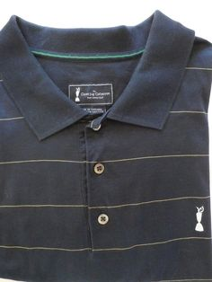 Very soft, nice and comfy solid navy short sleeve 3 button front placket closure 100% cotton polo shirt size XL by Adidas Golf Claret Jug Collection. Straight pointed collar. Thin yellow pin stripe. Great gift for dad!