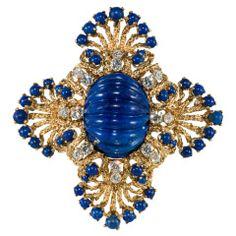 Large Carved Lapis Lazuli, Gold & Diamond Pendant/Brooch