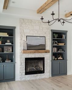 Fireplace Built Ins, Home Fireplace, Fireplace Shelves, Farmhouse Fireplace, Fireplace Remodel, Fireplace In Living Room, Fireplace With Cabinets, Basement Built Ins, Built In Shelves Living Room