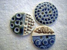 Janet Mealha/BlueMagpieDesign - Blue Porcelain Focal Art Buttons
