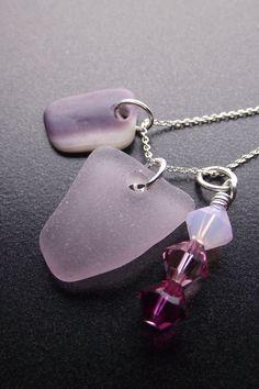 Lavender sea glass, wampum, and swarovski cluster necklace