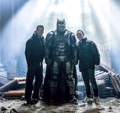 "dceumovies: "" ""Zack Snyder, Ben Affleck and Chris Terrio smiling on set of Batman v Superman "" "" Batman Comics, Dc Comics, Superman Dawn Of Justice, Ben Affleck, Marvel Movies, On Set, Justice League, Superhero, Fictional Characters"