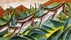 """Franz Marc.  """"Monkey Frieze"""" is one of about 101 paintings that Marc created in 1911, the year he gave up plein air painting and married Maria Franck in London. Marc's paintings are created from the standpoint of another animal. This is certainly the reason Marc's paintings became so popular after 1945 when escape from reality was still the main purpose art was acquired. Escape from reality often plays an important role in Marc's animal paintings."""